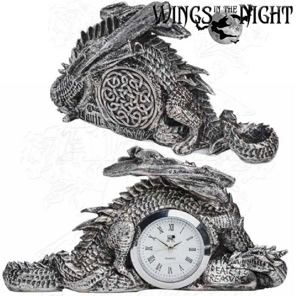 ALCHEMY GOTHIC Dragonlore Silver Mythical Clock